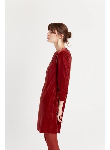 Rue Kadife Mini Kıremıt Elbise Kiremit
